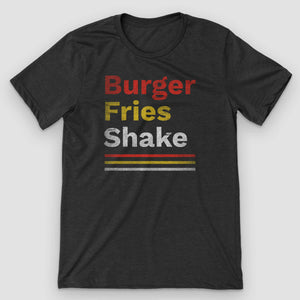 Retro Fast Food Burger Fries Shake T-Shirt - Snaxtime Retro Style Food Apparel