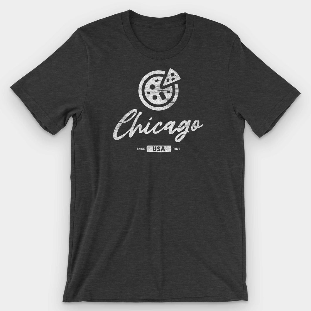 Chicago Deep Dish Pizza Graphic T-Shirt - Snaxtime Retro Style Food Apparel