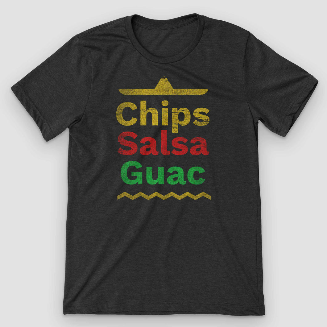 Chips Salsa Guacamole Mexican Food T-Shirt - Snaxtime Retro Style Food Apparel