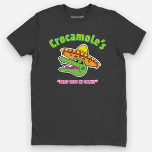 """Crocamole's"" Mexican Restaurant Graphic T-Shirt - Snaxtime Retro Style Food Apparel"