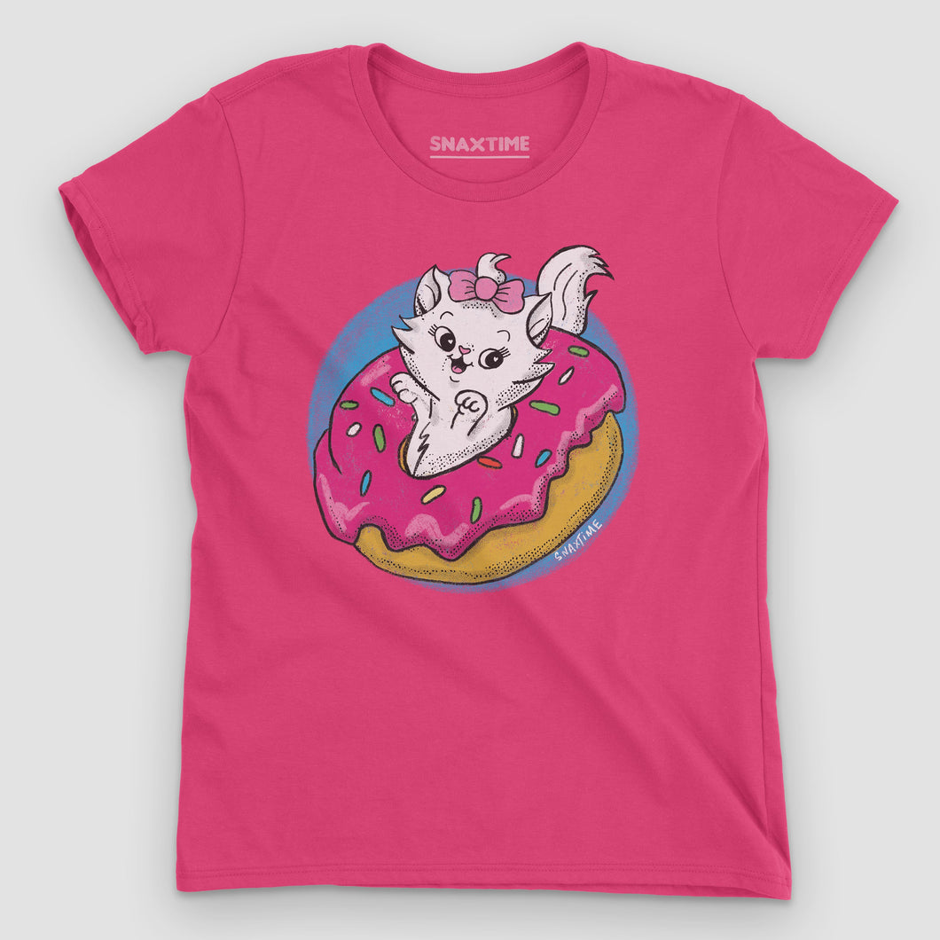 Donut Kitty Women's Graphic T-Shirt - Snaxtime Retro Style Food Apparel
