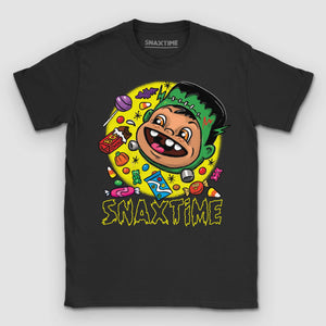 Halloween Candy Franken-Monster Cartoon Graphic T-Shirt - Snaxtime Retro Style Food Apparel