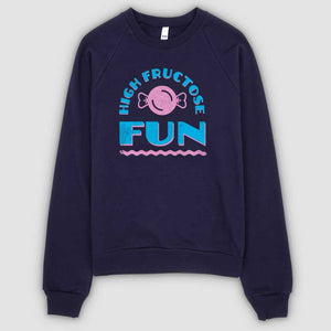 High Fructose Fun Unisex California Fleece Raglan Sweatshirt - Snaxtime Retro Style Food Apparel