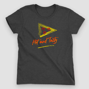 Retro Hot & Tasty Pizza Women's Graphic T-Shirt - Snaxtime Retro Style Food Apparel