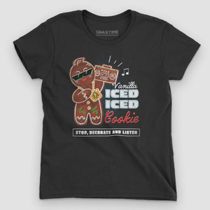 Vanilla Ice-d Gingerbread Cookie Women's Graphic T-Shirt - Snaxtime Retro Style Food Apparel
