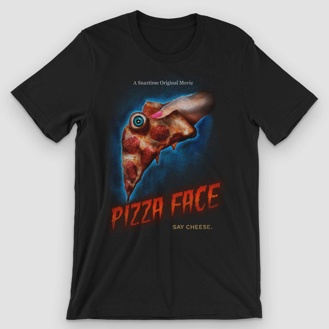 Pizza Face Movie Poster Graphic T-Shirt - Snaxtime Retro Style Food Apparel