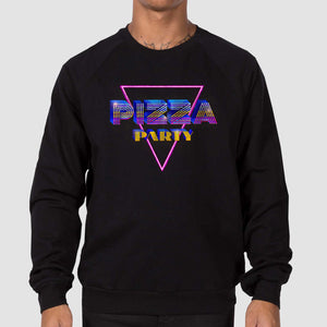 Pizza Party Unisex California Fleece Raglan Sweatshirt - Black - Snaxtime