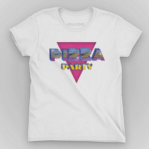 Pizza Party Women's Graphic T-Shirt - Snaxtime Retro Style Food Apparel