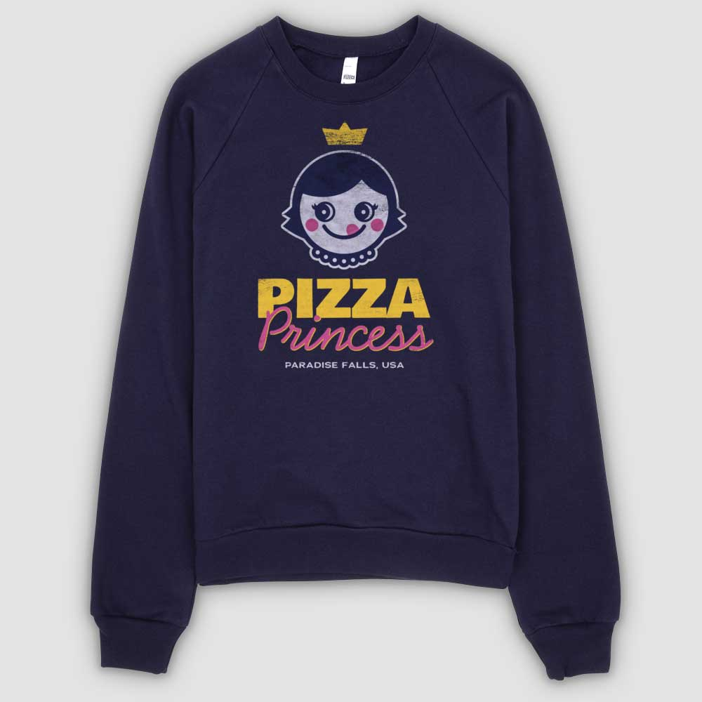 Pizza Princess Unisex California Fleece Raglan Sweatshirt - Navy - Snaxtime Retro Style Food Apparel