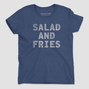 Salad and Fries Women's Graphic T-Shirt - Snaxtime Retro Style Food Apparel