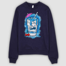 Load image into Gallery viewer, Totally Chill Unisex California Fleece Raglan Sweatshirt - Navy - Snaxtime Retro Style Food Apparel