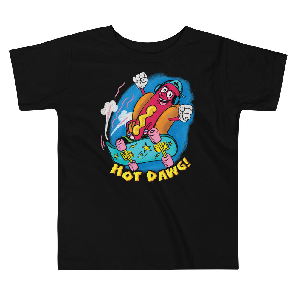 Retro Cartoon Hot Dog Toddler Graphic T-Shirt