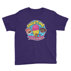 Snaxtime Ice Cream Hut Youth Short Sleeve T-Shirt - Snaxtime Retro Style Food Apparel