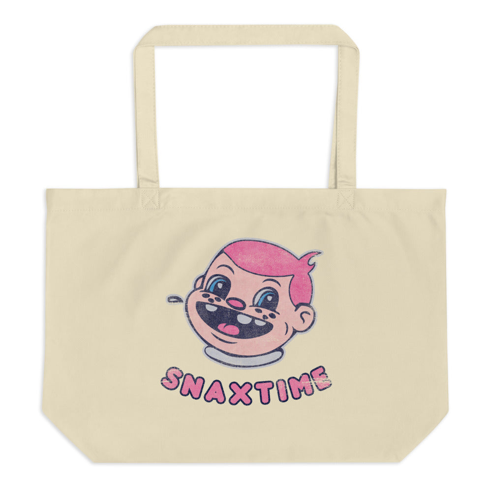 Snaxtime Original Large Reusable Tote Bag - Snaxtime Retro Style Food Apparel