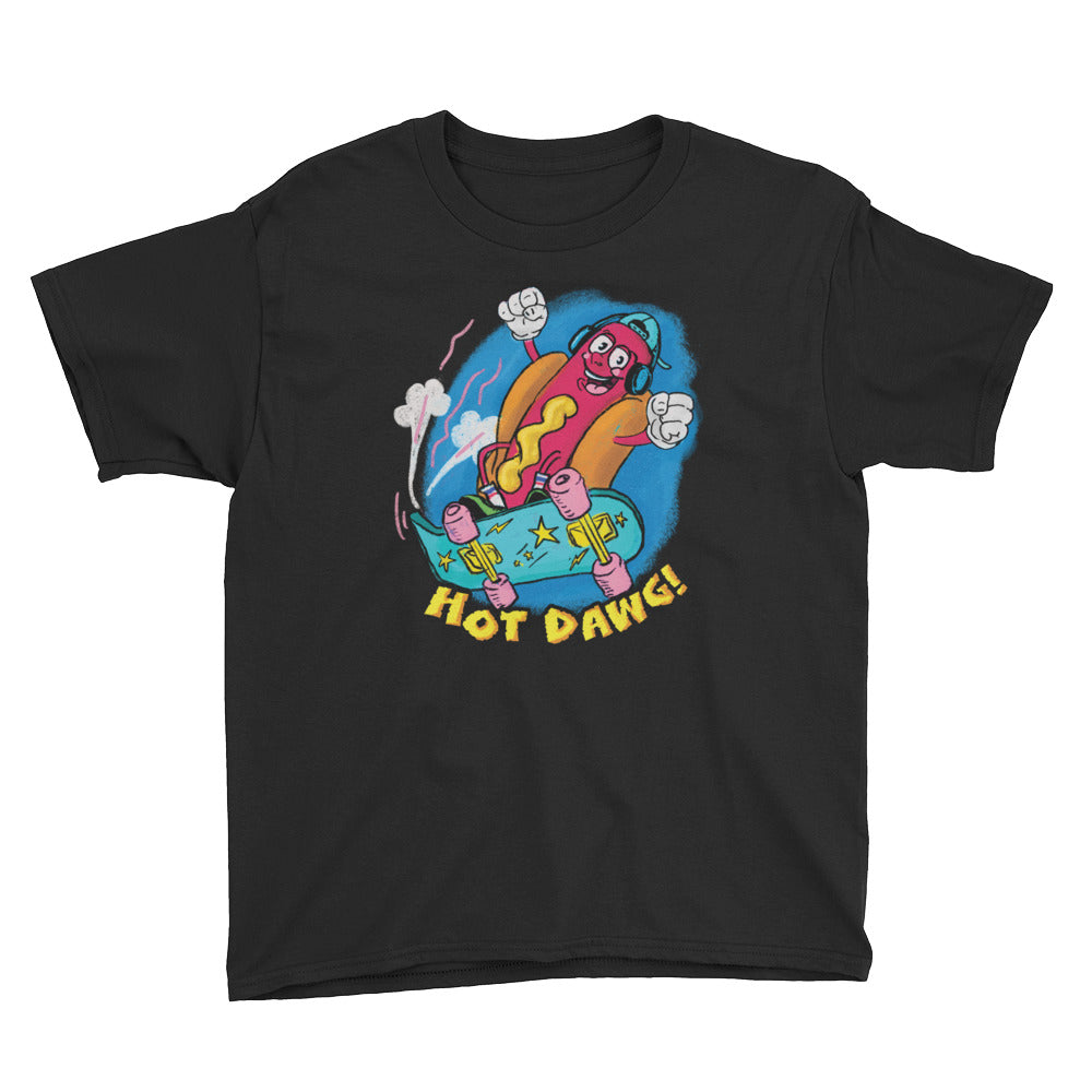 Retro Cartoon Hot Dog Youth Short Sleeve T-Shirt - Snaxtime Retro Style Food Apparel