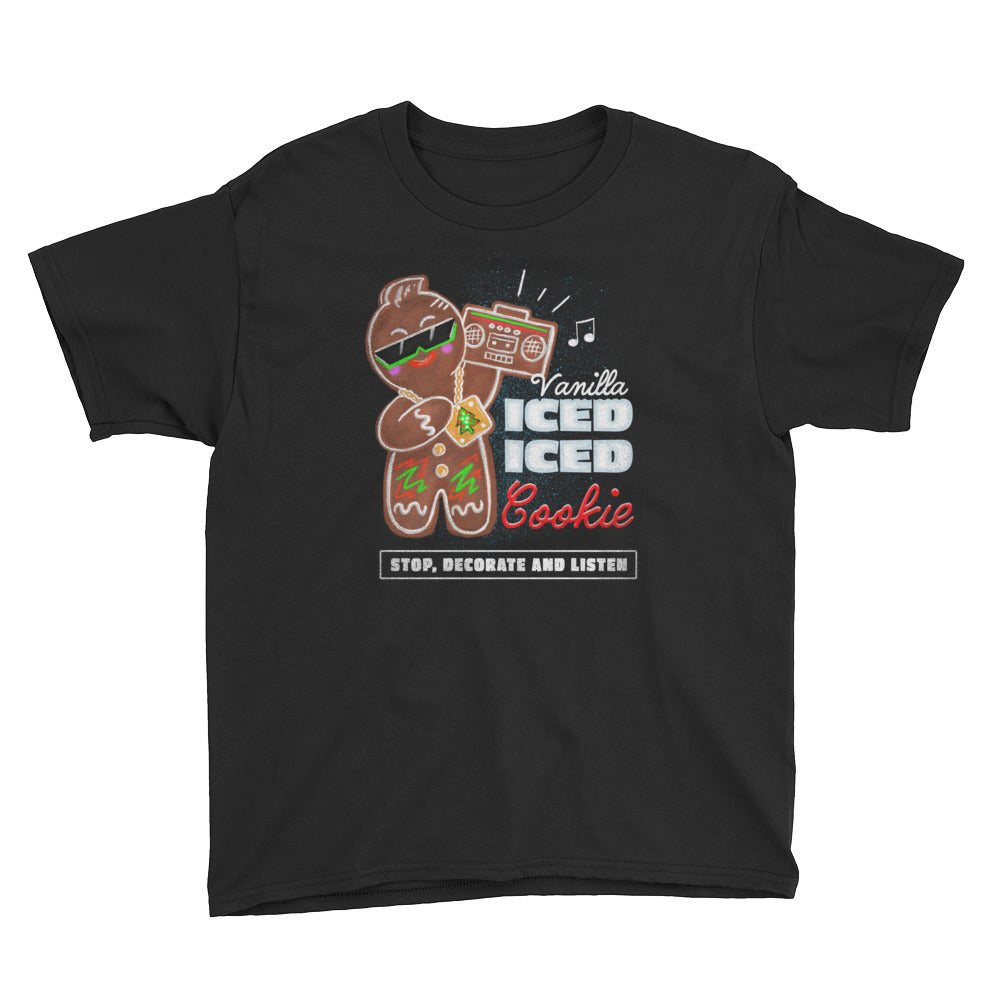 Vanilla Ice-d Gingerbread Cookie Youth Graphic T-Shirt - Snaxtime Retro Style Food Apparel