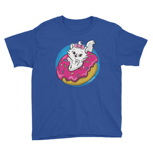 Donut Kitty Youth Short Sleeve T-Shirt - Snaxtime Retro Style Food Apparel