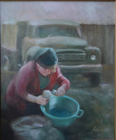Russian Woman Pouring Seeds