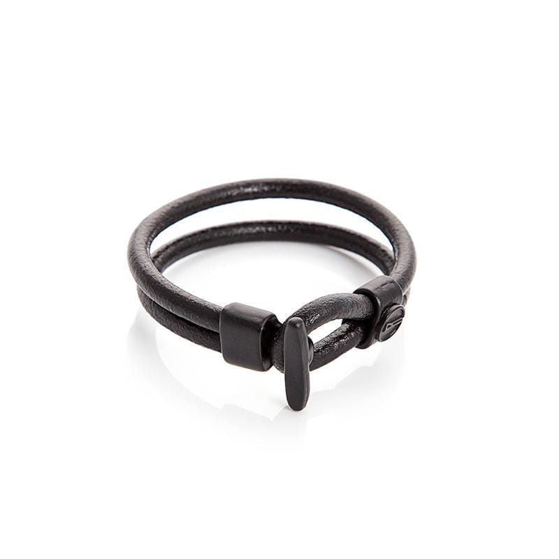 T Buckle Leather Bracelet 真皮T扣手環 - 黑色