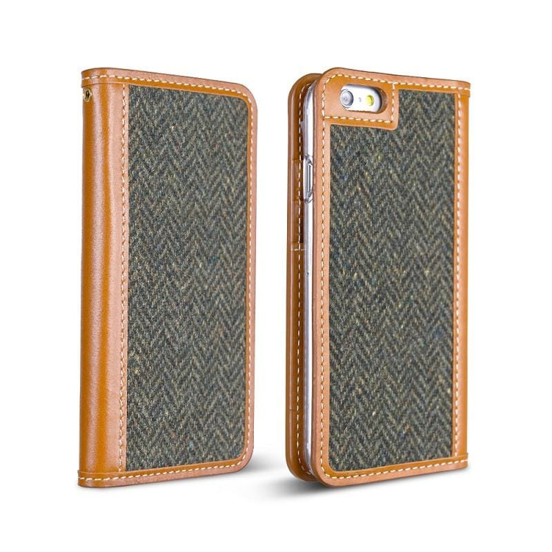 TWEED iPhone 6 4.7吋 手工製作 真皮毛料保護套 - HERRINGBONE