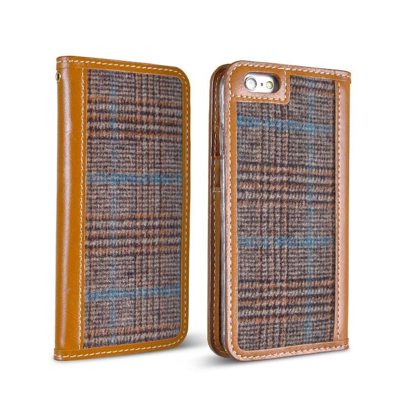 TWEED iPhone 6 Plus 5.5吋 手工製作 真皮毛料保護套 - Glen check