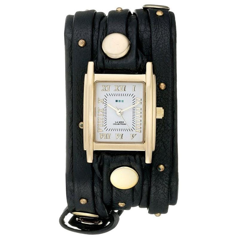 精品手錶手鍊 - Black Gold Stud Analog Display Quartz Black Watch