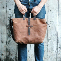 Waxed Canvas Tote 帆布托特包 - 紅褐