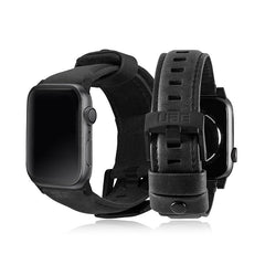UAG - Apple Watch 42/44mm 皮革錶帶-黑