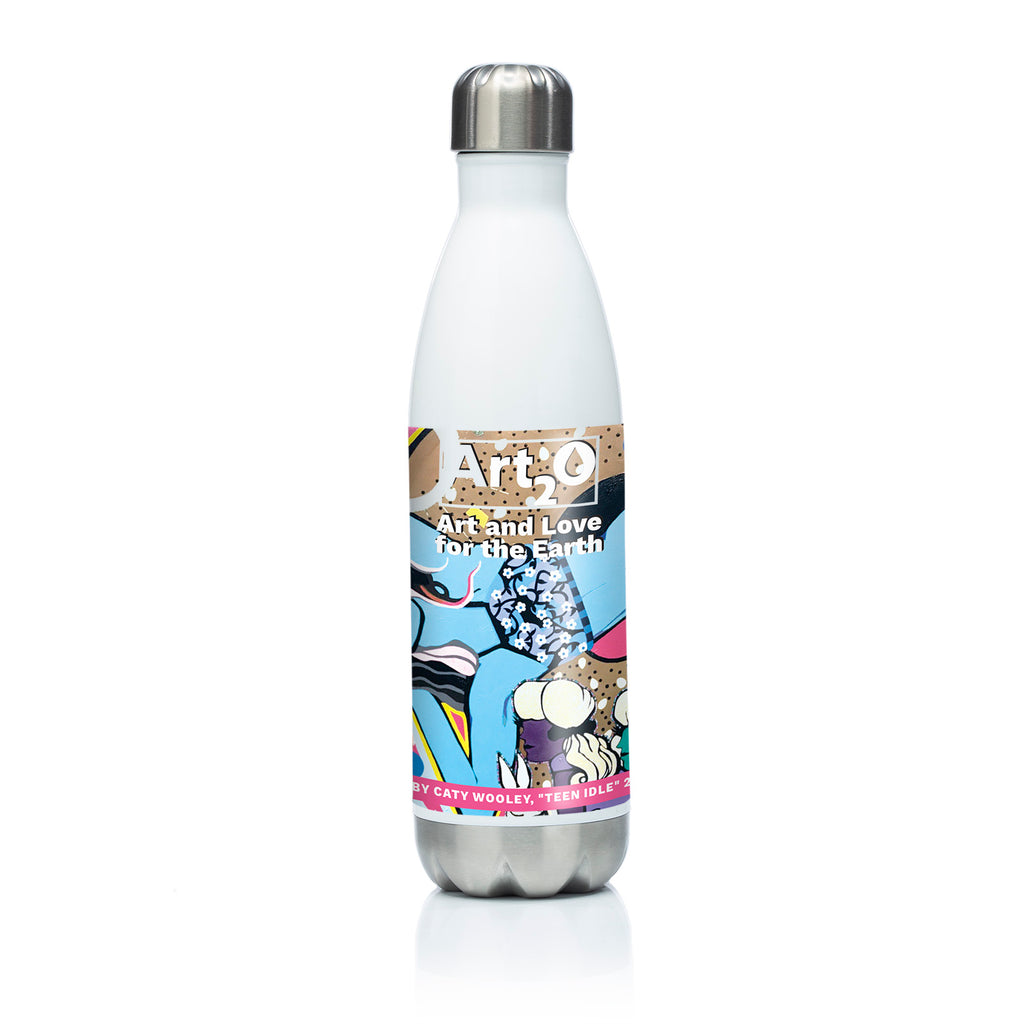 Reusable stainless steel water bottle Teen Idle  by Caty Wooley
