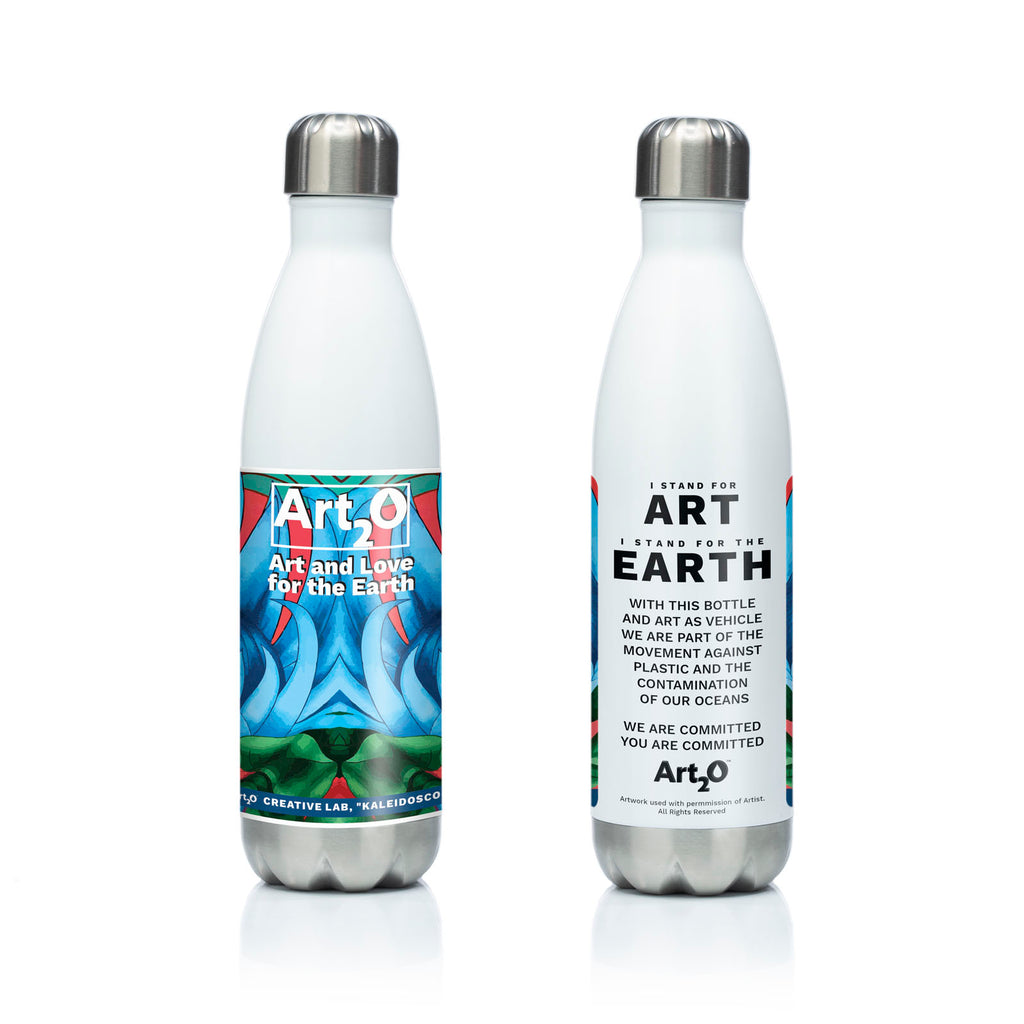 Reusable stainless steel water bottle Kaleidoscope I by Art2o Creative Lab