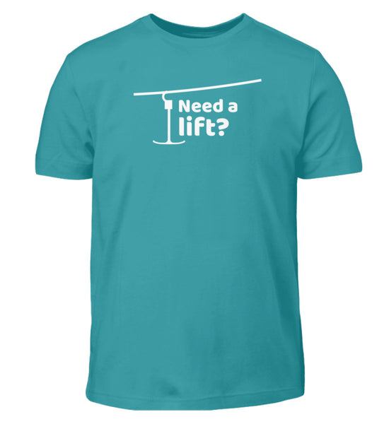 """Need a lift?"" Kinder T-Shirt in der Farbe Swimming Pool von ANKERLIFT"