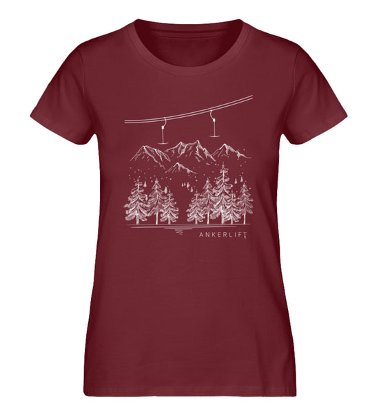 """Winterwald"" Damen Organic Shirt in der Farbe Burgundy - ANKERLIFT"