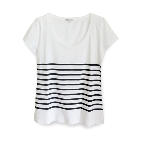 WOMENS SS STRIPE SCOOP