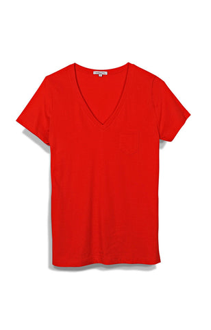 WOMENS SS POCKET V NECK