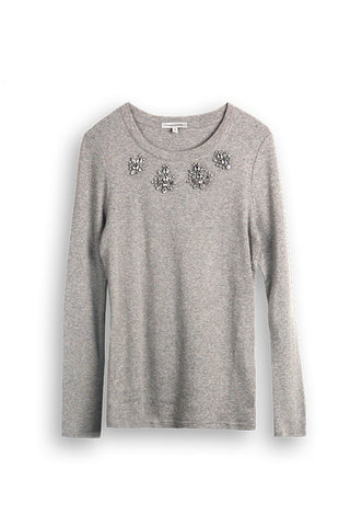 WOMENS EMBELLISHED LS CREW