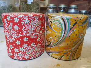 Japanese Washi Tea Canister Wide