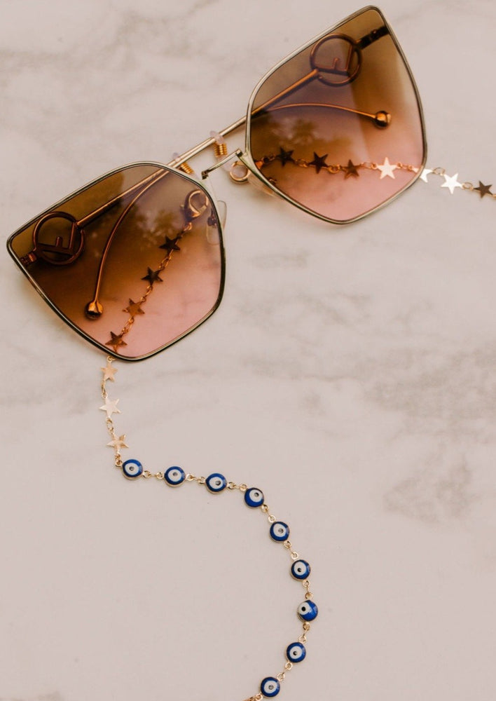 Evil Eye and Star Sunglass Chain