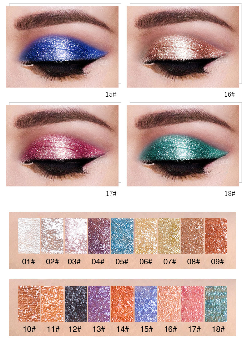 PUDAIER 1PC  Glitter Eyeshadow Liquid Pigment - 18 Colors