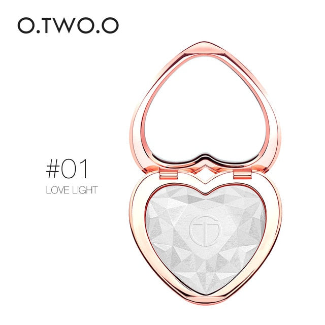 O.TWO.O Highlighters Makeup Powder Natural Shimmer Highlighter Palette High Pigments Heart Shape Glow Kit Illuminator Cosmetics