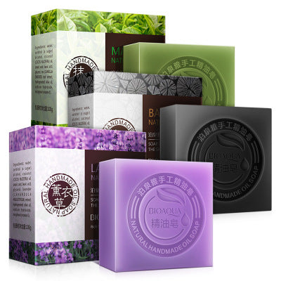2018 Bioaqua Park Springs Bamboo Charcoal Soap Matcha Soap Lavender Combination Skincare Handmade Oil Soap Cleansing Soap
