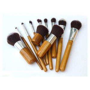11PCS Combined Makeup Brush Set Bamboo handle Professional Beauty Cosmetics Makeup Tools Kit For Eyebrow Concealer Eye shadow