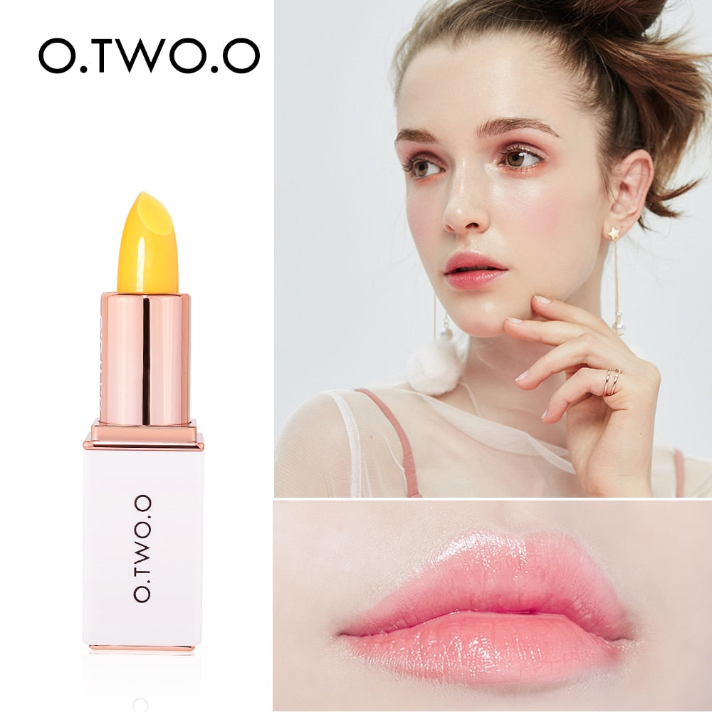 O.TWO.O Lip Balm Temperate Changing Lipstick Long Lasting Hygienic Moisturizing Lipstick Anti Aging Makeup Pink Lip Care