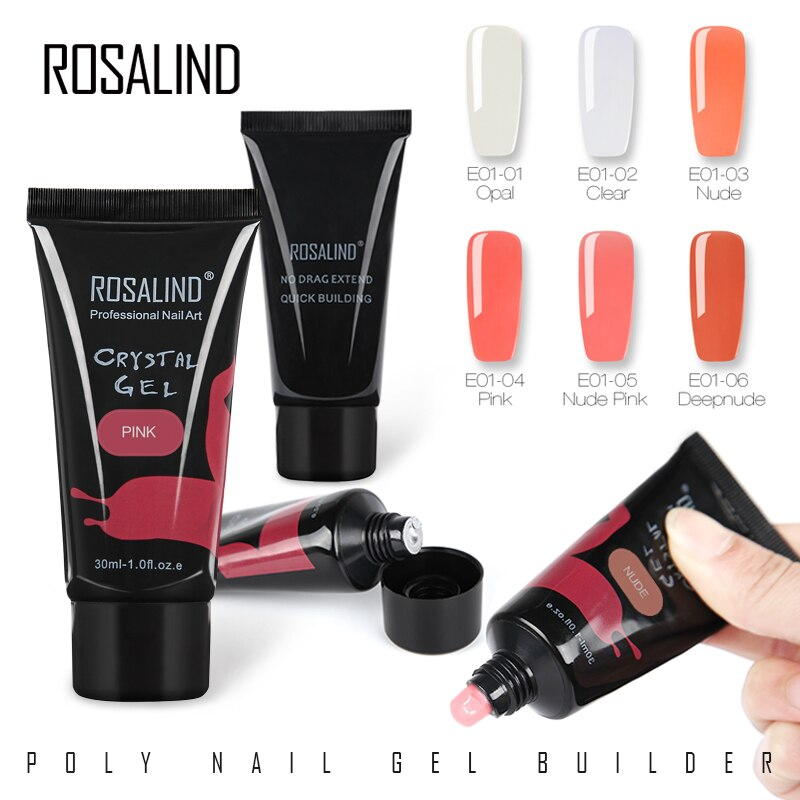ROSALIND Gel Nail Polish 30ml Nail Poly gel lacquer Finger Extension Crystal Poly Gel Soak Off UV Nail Art Semi permanent Nails