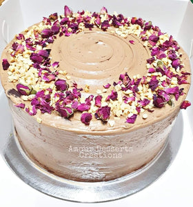 Caramelized Banana Nutella Cake with Rose Petal and Peanut Topping by Amour Desserts