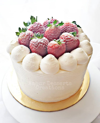 Durian Cake with Strawberry Toppings