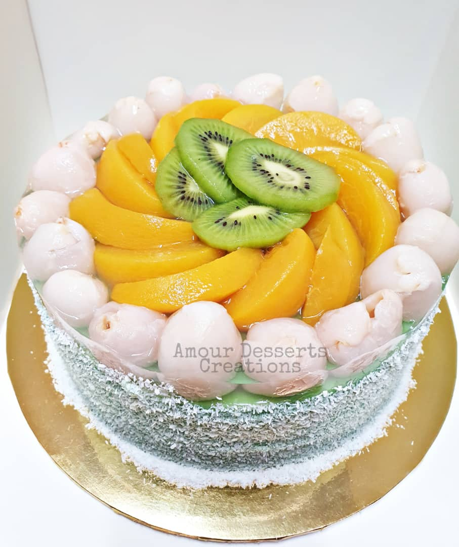 Pandan Layer Cake with Fruit Topping