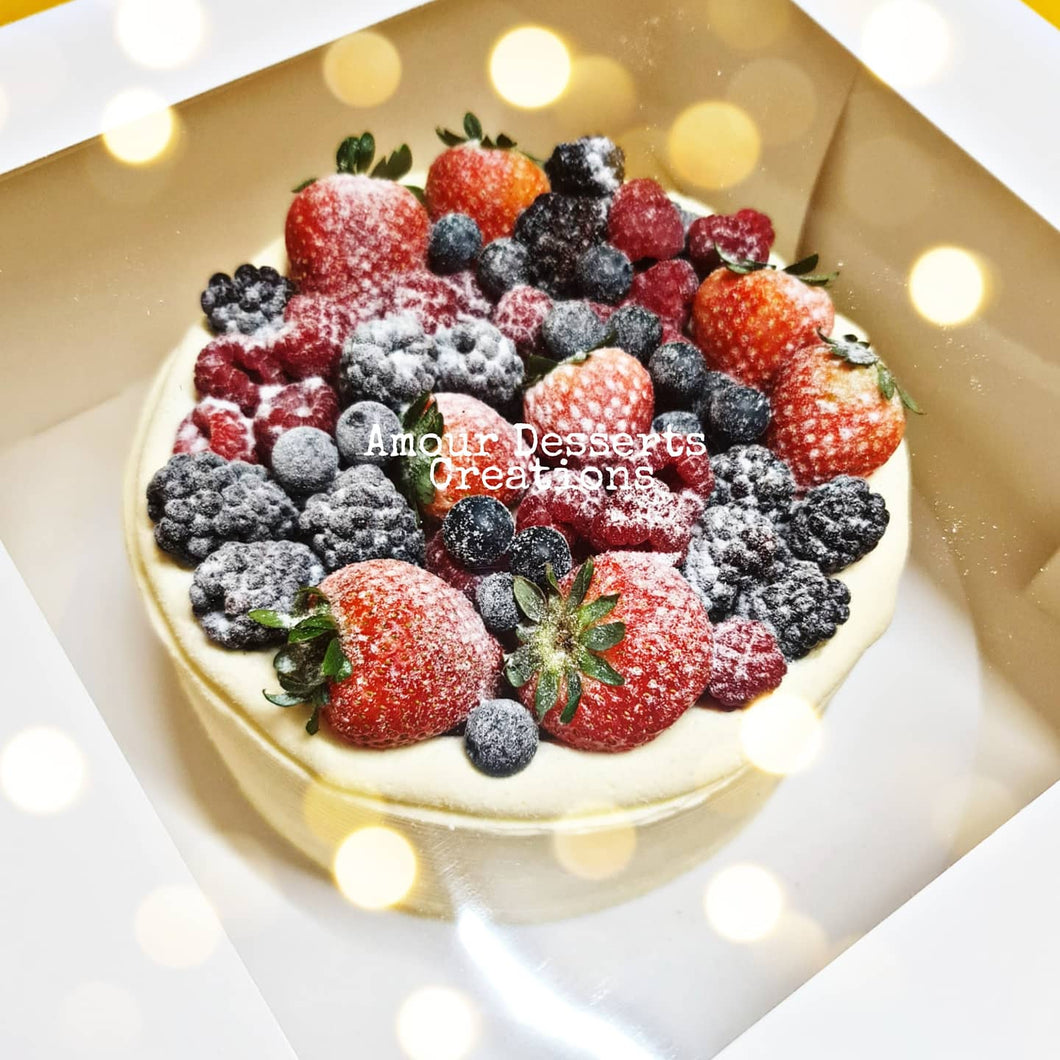 Durian Cake with Mixed Berries Toppings