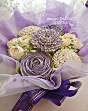 Load image into Gallery viewer, Purple & White Edible Floral Bouquet