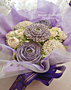 Purple & White Edible Floral Bouquet