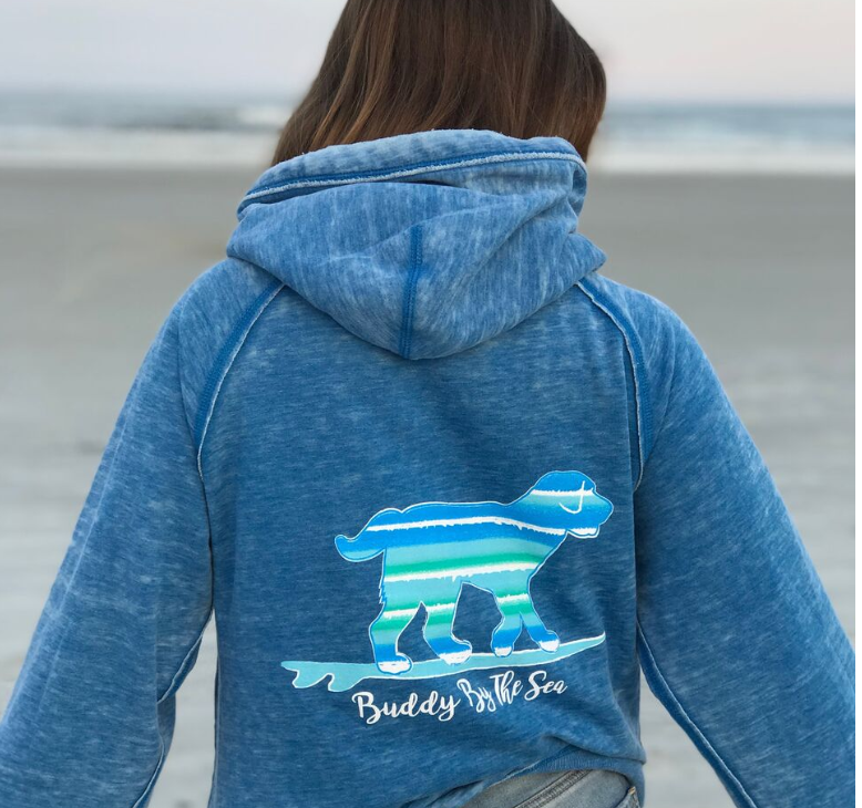 Buddy by the Sea - Cool Blue Pullover Sweatshirt